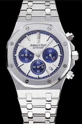 Audemars Piguet Royal Oak Chronograph White And Blue Dial Stainless Steel Bracelet 1454026 Piguet Replica