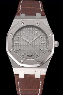 Audemars Piguet Royal Oak Fondation Gray Dial Stainless Steel Case Brown Leather Strap Piguet Replica