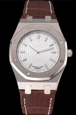 Audemars Piguet Royal Oak Fondation White Dial Stainless Steel Case Brown Leather Strap Piguet Replica
