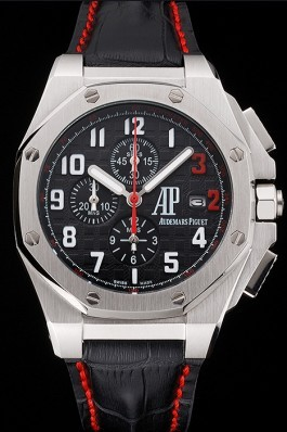 Audemars Piguet Royal Oak Offshore Shaquille O'Neal Black Dial Stainless Steel Case Black Leather Strap Audemars Piguet Royal Oak Replica Aaa