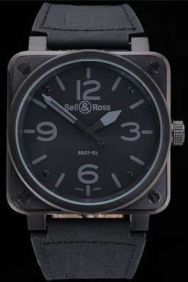 Bell and Ross BR 01-92 Black Dial Black Case Black Leather Strap Bell Ross Replica For Sale