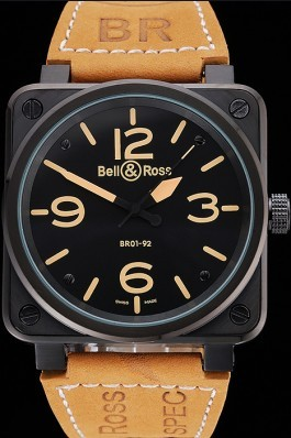Bell and Ross BR 01-92 Black Dial Black Case Brown Leather Strap Bell Ross Replica For Sale