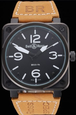 Bell and Ross BR 01-94 Black Dial Black Case Brown Leather Strap Bell & Ross Replica