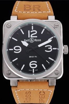 Bell and Ross BR 01-94 Black Dial Silver Case Brown Leather Strap Bell & Ross Replica
