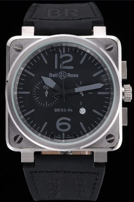 Bell and Ross BR 03-94 Black Dial Silver Case Black Leather Strap Replica Bell And Ross