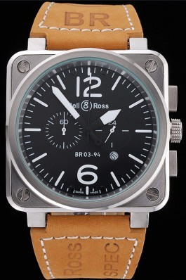 Bell and Ross BR 03-94 Black Dial Silver Case Brown Leather Strap Replica Bell And Ross