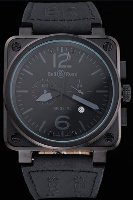 Bell and Ross BR 03-94 Black Dial White Numerals Silver Case Brown Leather Strap Replica Bell And Ross