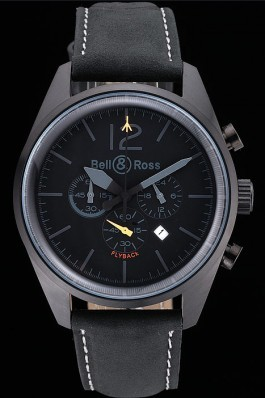 Bell and Ross BR126 Flyback Black Dial Black Case Black Suede Leather Strap Replica Bell And Ross