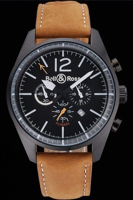 Bell and Ross BR126 Flyback Black Dial Black Case Brown Suede Leather Strap Replica Bell And Ross