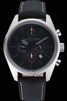 Bell and Ross BR126 Flyback Black Dial Silver Case Black Suede Leather Strap  Replica Bell And Ross