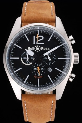 Bell and Ross BR126 Flyback Black Dial Silver Case Brown Suede Leather Strap Replica Bell And Ross