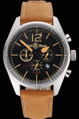 Bell and Ross BR126 Flyback Black Dial Silver Case Gold Numerals Brown Suede Leather Strap Replica Bell And Ross