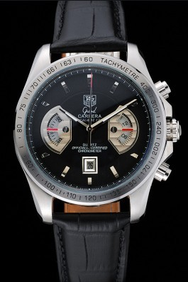 Black Leather Band Top Quality Tag Heuer Carrera Tachymeter Bezel Black Dial Black Leather Strap 5426 Tag Heuer Replica