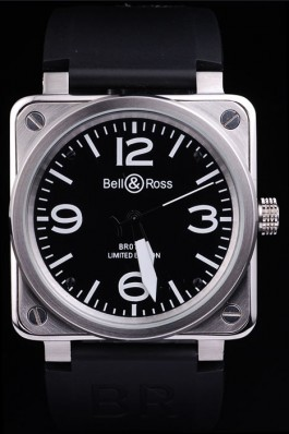 Black Rubber Band Top Quality Ross Brushed Steel Luxury Black Watch 4196 Bell Ross Replica For Sale