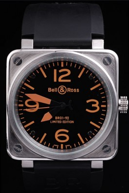 Black Rubber Band Top Quality Ross Black-Orange Brushed Steel Luxury Watch 4197 Bell Ross Replica For Sale