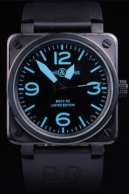 Black Rubber Band Top Quality Carbon-Blue Steel Luxury Watch 4188 Bell Ross Replica For Sale