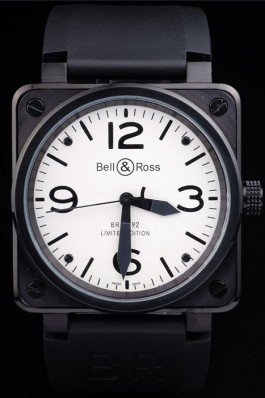 Black Rubber Band Top Quality Carbon-White Steel Luxury Watch 4187 Bell Ross Replica For Sale