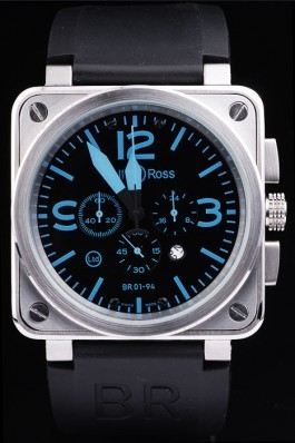 Black Rubber Band Top Quality Ross Black-Blue Brushed Steel Luxury Watch 4203 Bell & Ross Replica