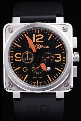 Black Rubber Band Top Quality Ross Brushed Steel Black-Orange Luxury Watch 4201 Bell & Ross Replica