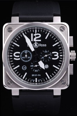 Black Rubber Band Top Quality BR01-94 Steel Black-White Dial Luxury Watch 4202 Bell & Ross Replica