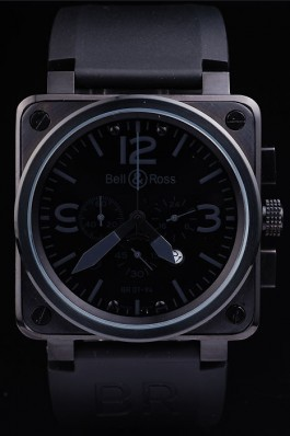Black Leather Band Top Quality Carbon Steel Luxury Black Watch 4190 Bell & Ross Replica