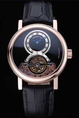 Breguet Classique Grande Complication Tourbillon Gold Case Black Dial Black Leather Strap 622211 Breguet Replica