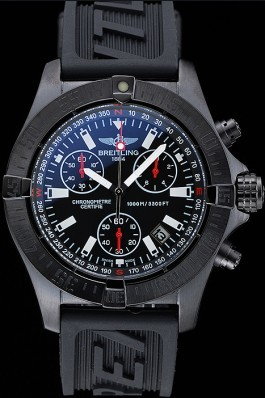 Breitling Avenger Seawolf Ion Plated Steinless Steel Case Black Dial Rubber Bracelet 622240 Breitling Replicas