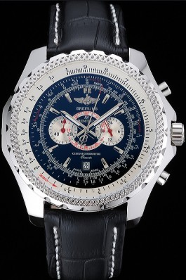 Breitling Bentley Chronograph Black Dial Black Leather Strap Fake Breitling Bentley