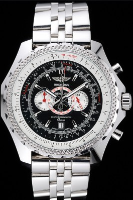 Breitling Bentley Chronograph Black Dial Stainless Steel Strap 98192 Fake Breitling Bentley