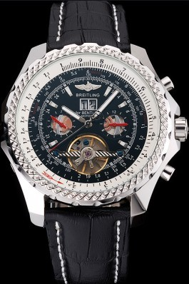 Black Leather Band Top Quality Breitling Motors Black Luxury Watch 4035 Fake Breitling Bentley