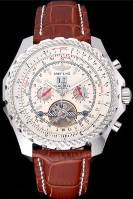 Brown Leather Band Top Quality Luxury Bentley Motors Brown Watch 4036 Fake Breitling Bentley