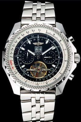 Stainless Steel Band Top Quality Breitling Polished Steel Kinetic Watch 4161 Fake Breitling Bentley
