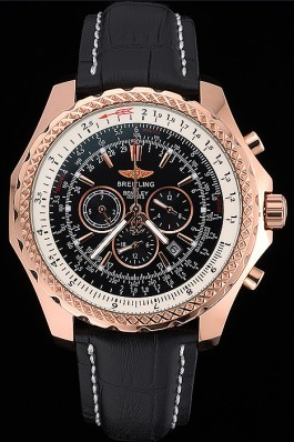 Breitling Bentley Motors Speed Gold Case Black Dial Black Leather Bracelet 622232 Fake Breitling Bentley