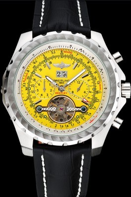 Breitling Bentley Mulliner Tourbillon Yellow Dial Stainless Steel Case Black Leather Strap 622730 Fake Breitling Bentley