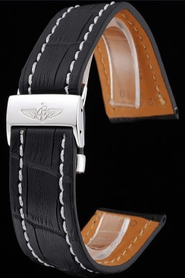 Breitling Black Leather White Stitching Bracelet 622482 For Breitling Replicas