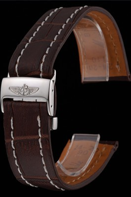Breitling Brown Leather White Stitching Bracelet 622604 For Breitling Replicas
