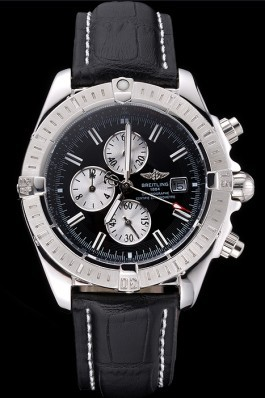 Breitling Chronomat 13 Stainless Steel Case Black Dial Black Leather Bracelet 622237 Breitling Chronomat
