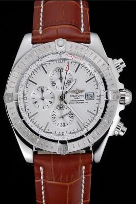 Breitling Chronomat 13 Stainless Steel Case White Dial Brown Leather Bracelet 622239 Breitling Chronomat