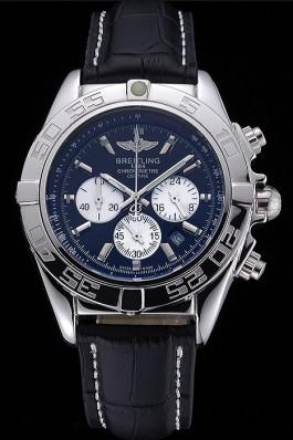 Breitling Chronomat 44 Black Dial with White Subdials Black Leather Bracelet 622511 Breitling Chronomat