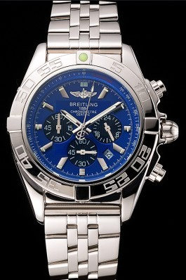 Breitling Chronomat 44 Blue Dial with Black Subdials Stainless Steel Bracelet 622508 Breitling Chronomat