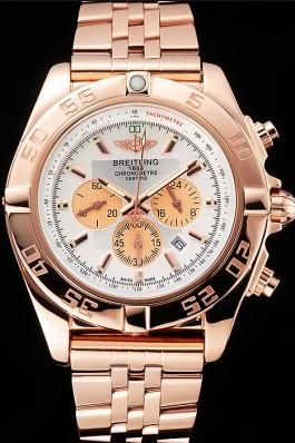 Breitling Chronomat 44 White Dial Rose Gold Bracelet 622518 Breitling Chronomat