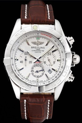 Brown Leather Band Top Quality Breitling Stainless Steel Luxury Red Watch 4042 Breitling Chronomat