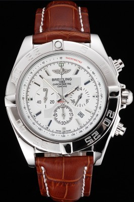 Brown Leather Band Top Quality Breitling Brown Luxury Stainless Steel Watch 4050 Breitling Chronomat