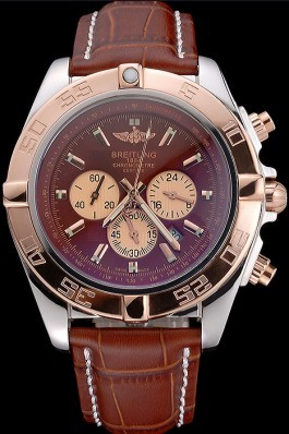 Breitling Chronomat Brown Dial Rose Gold Bezel And Subdials Stainless Steel Case Brown Leather Strap Breitling Chronomat