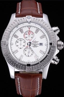 Breitling Chronomat Evolution White Dial Brown Leather Bracelet 622517 Breitling Chronomat