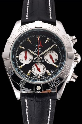Breitling Chronomat Frecce Tricolori Black Dial Stainless Steel Case Black Leather Strap Breitling Chronomat