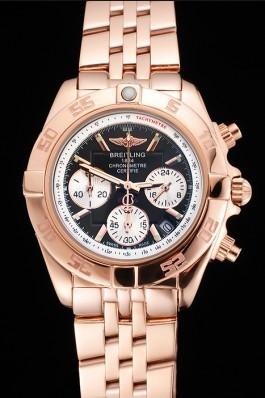 Breitling Chronomat Quartz Dark Blue Dial Rose Gold Case And Bracelet Breitling Chronomat
