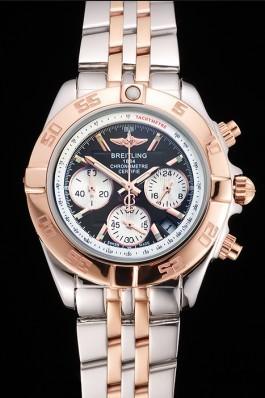 Breitling Chronomat Quartz Dark Blue Dial Rose Gold Case Stainless Steel Case Two Tone Bracelet Breitling Chronomat