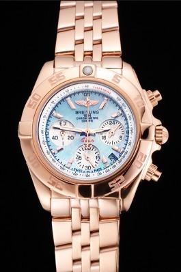 Breitling Chronomat Quartz Light Blue Dial Rose Gold Case And Bracelet Breitling Chronomat