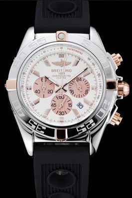 Breitling Chronomat Rose-Gold Highlight Ribbed Black Rubber Strap White Dial Breitling Chronomat